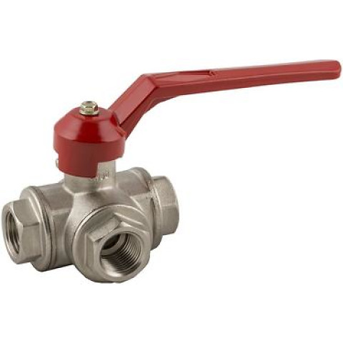 "3 ways ball valve ""L"" female G ISO228"
