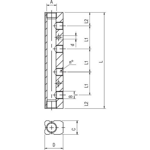 "Aluminium distribution manifold 3/8"" - 6x1/4"""