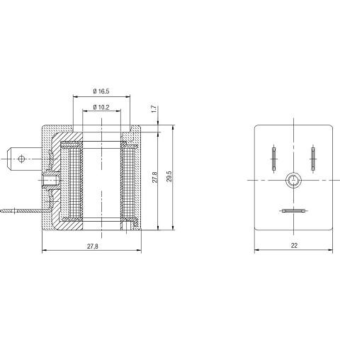 Solenoid 12VDC 6,5W, Size 22